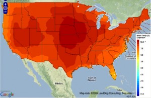 ClimateWizard Climate change temperature increases century 300x195 Temperature Will Soar in Some U.S. States Within the Century