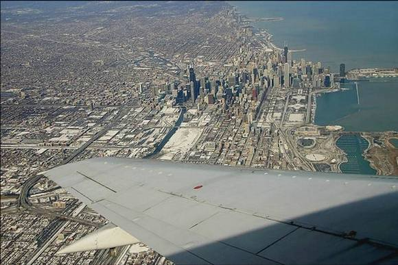 Chicago Under the wing of the plane