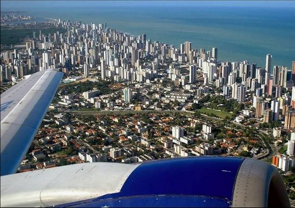 Recife Brazil Under the wing of the plane