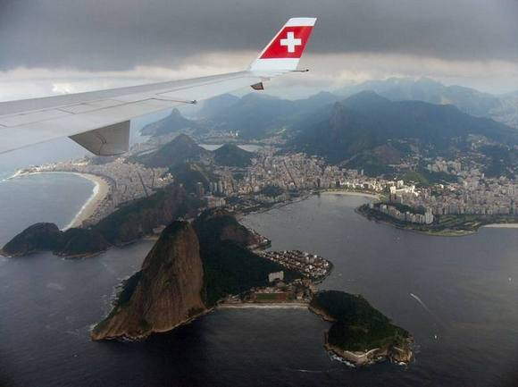 Rio de Janeiro Under the wing of the plane