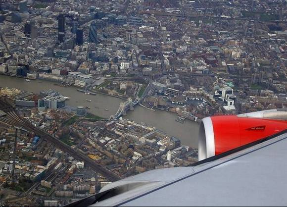 london skyline Under the wing of the plane