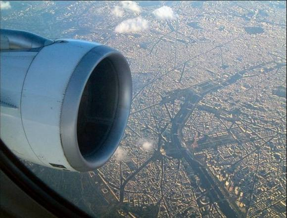 paris Under the wing of the plane